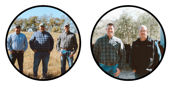 Two circle images of our team at a farm